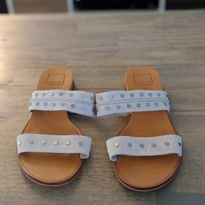 Stone colored Dolce Vita Studded Wedge Slides